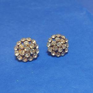 Vintage Screw Back Rhinestone Costume Earrings